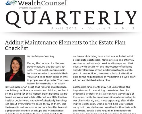 ryan_cruz_law_san_diego_attorney_legal_article_adding_maintenance_elements_estate_plan_checklist_april_2013