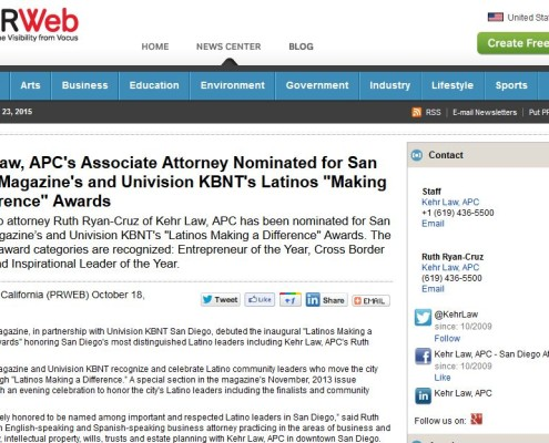 ryan_cruz_law_san_diego_attorney_press_release_attorney_nominated_for_latino_awards_october_2013