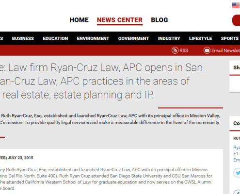 ryan_cruz_law_san_diego_attorney_press_release_law_firm opens_business_trusts_wills_july_2015