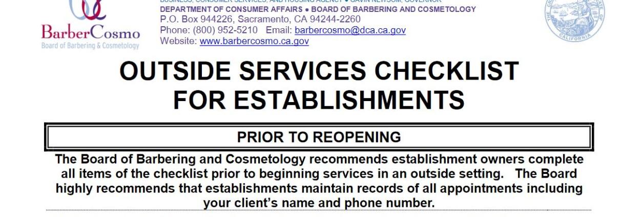 Barber-Cosmo Outdoor Services Checklist (July 2020)